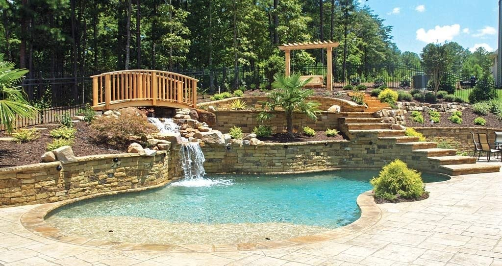 built along with water bodies or edges of the rivers, swimming pool pavers